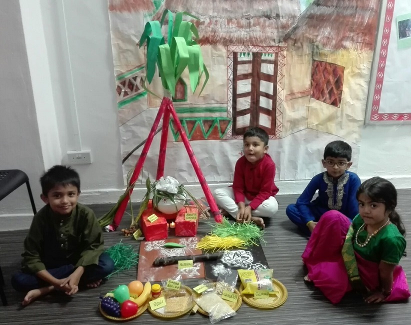 Kids learning about the Pongal festival theme & Pongal Ingredients