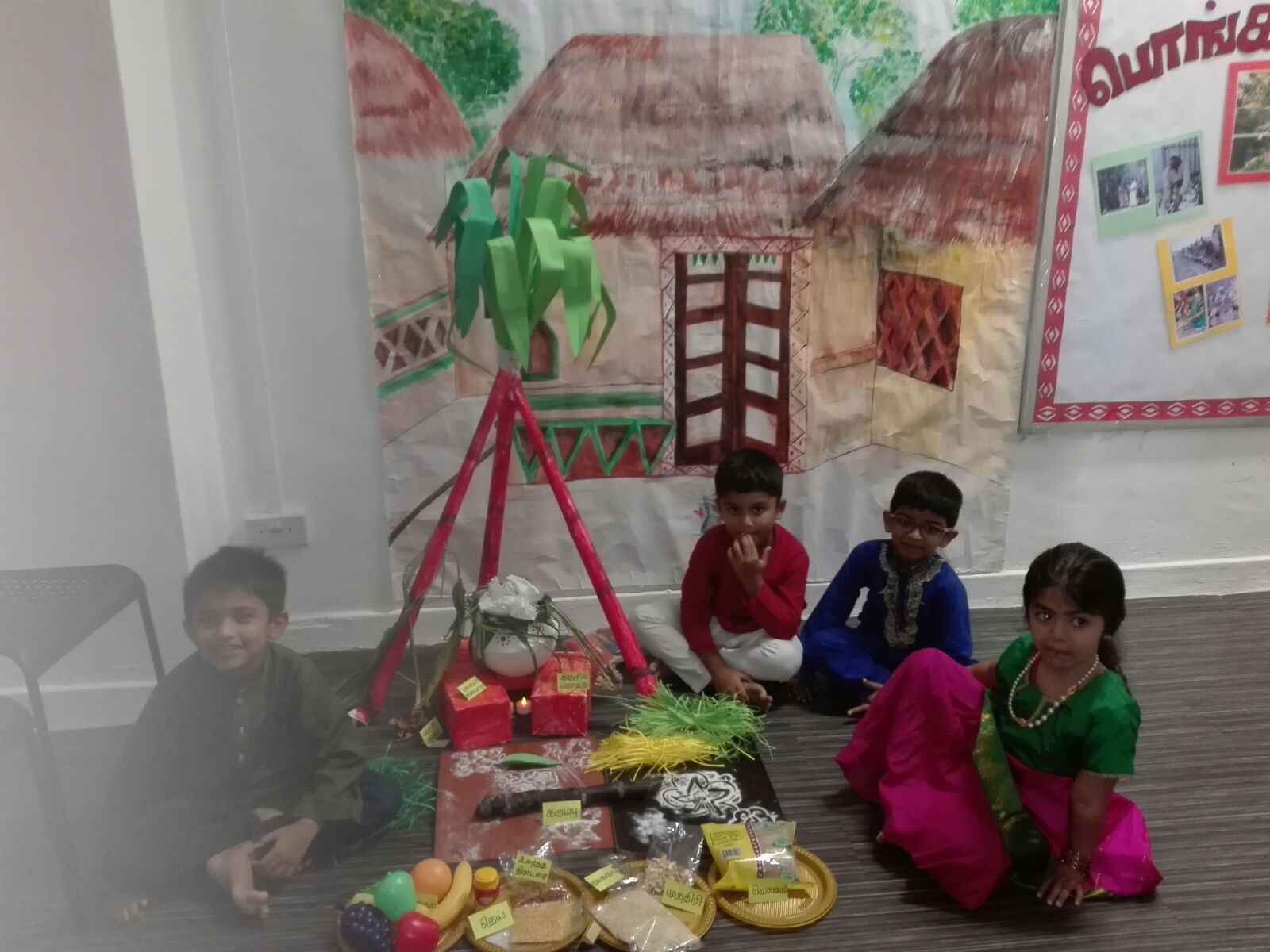 Kids celebrating Pongal festival